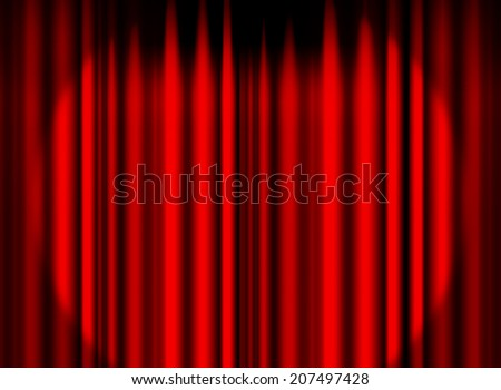 Red curtain stage with spot light background - stock photo