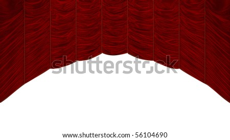 Red Curtain with beautiful textile pattern. Extralarge resolution - stock photo