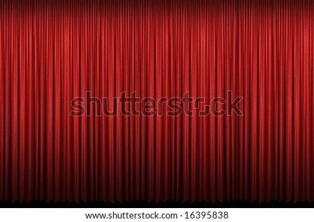 Red curtain with light and shadows - stock photo