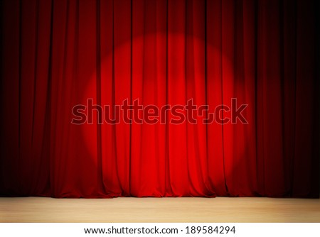 red curtain with spot light  theater stage - stock photo