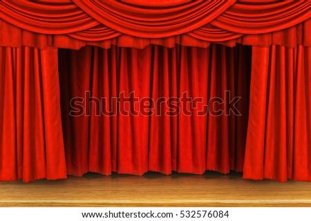Red Curtains Velvet Drapes On Old Stock Illustration 110088836 ...