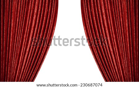 red curtains on a white background. - stock photo