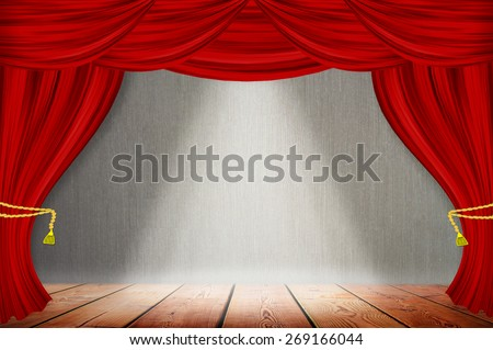 Red curtains on gray wood wall background - stock photo