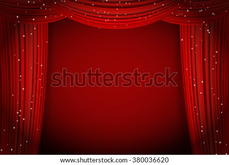 Red curtains on red background with glittering stars. Open curtains as theater or movie presentation or cinema award announcement with space for text - stock photo