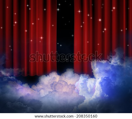 Red curtains on theater with cloud and stars. - stock photo