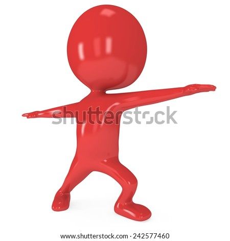 Red cute man doing yoga exercise. 3d render isolated. Physical activity concept.