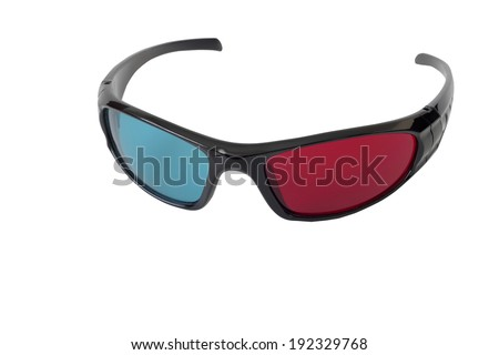 Red cyan glasses on white background