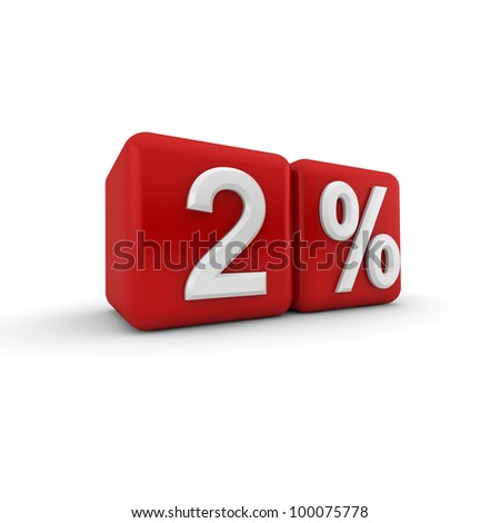 Red 3d block with white two percent text