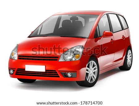 Red 3D Car - stock photo
