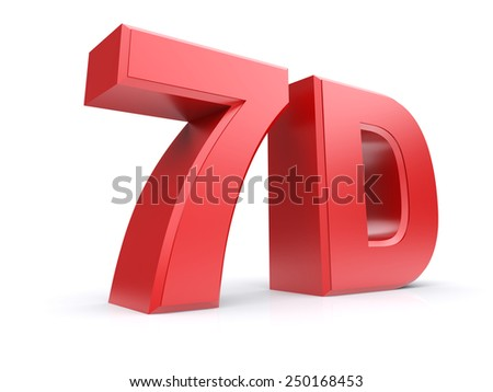 Red 3d cinema 7D. Isolated on a white background. 3d image