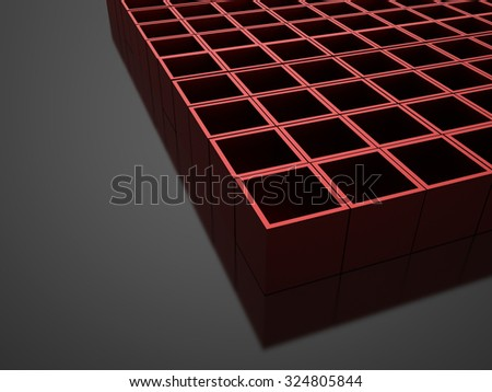 Red 3D Cubes background business concept rendered
