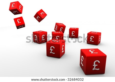 Red 3D dice with the pound sterling symbole on white back drop