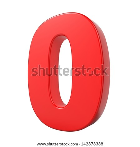 Red 3D Digit 0 Isolated on White Background. - stock photo