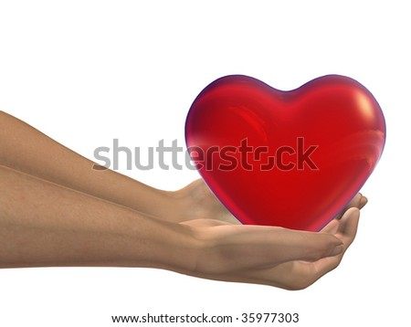 red 3D heart held in hands by an adult male, ideal for love,medical,holiday,friendship or Valentine`s Day designs