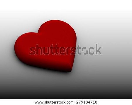 Red 3D heart on white black background - stock photo