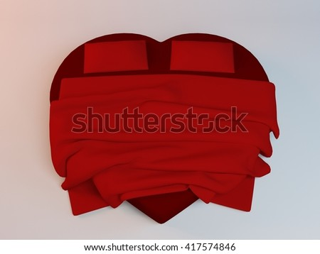 Red 3d Heart Shaped Bed With Two Pillows And A Blanket Inside A White Studio