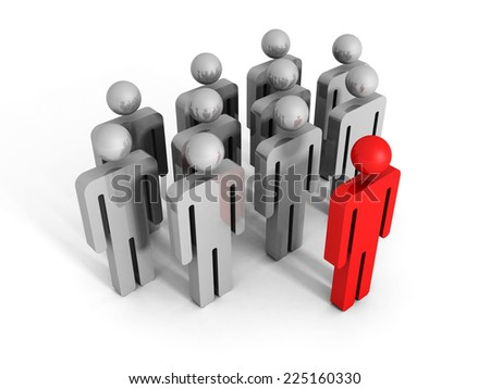 red 3d leader man icon figure forward of team. Success leadership concept 3d render illustration - stock photo