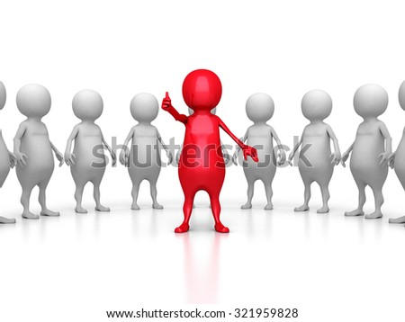Red 3d Leader Of Large Team Group. Leadership Teamwork Concept 3d Render Illustration - stock photo