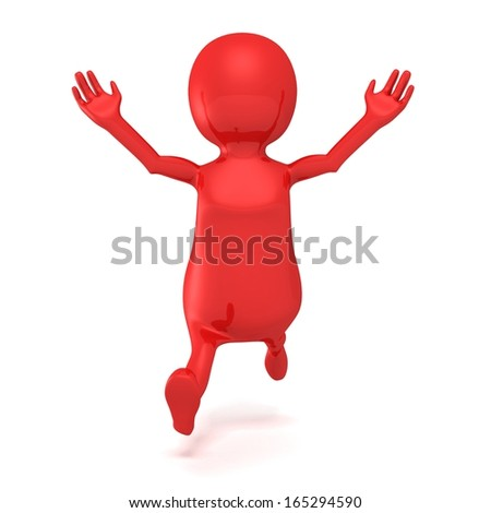 red 3d man running forward and  happy - stock photo