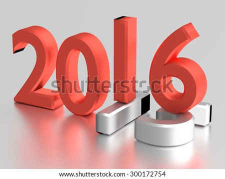 Red 3d numbers of New Year 2016 over grey old 2015 - stock photo