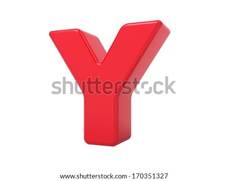 Red 3D Plastic Letter Y Isolated on White.