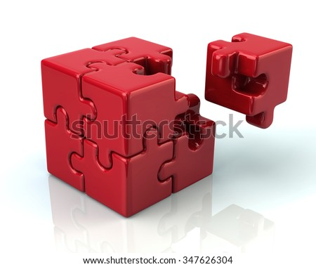 Red 3d puzzle cube with a missing piece on white background - stock photo