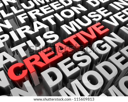 Red 3d �¢??text creative in the center of different words