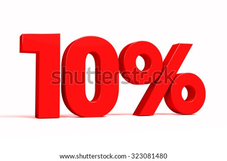 Red 3d 10% text on white background. See whole set for other numbers. - stock photo