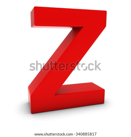 Red 3D Uppercase Letter Z Isolated on white with shadows