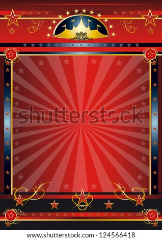 Red dark circus. a circus vintage poster with sunbeams for your advertising