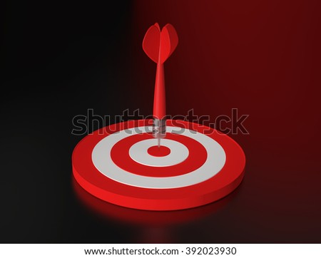 Red dart hit the target on black and red background. 3D render - stock photo