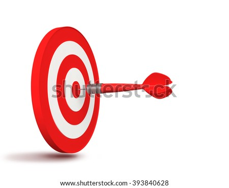 Red dart hit the target on white background. 3D render
