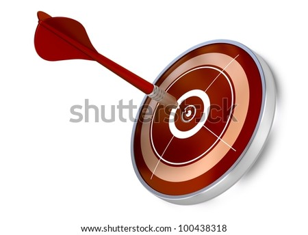 red dart hitting the center of a red target, white background, modern design - stock photo