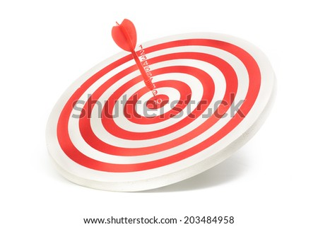 Red dart on red target isolated on white background - stock photo