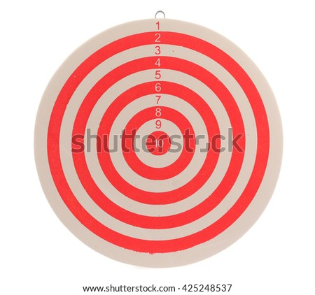 Red dart target isolated on white background