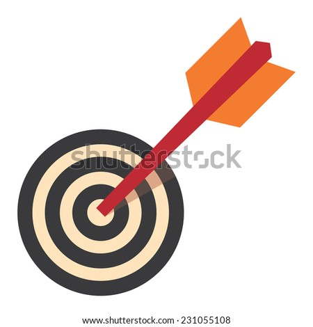 Red Darts Hitting a Target Bullseye Isolated on White Background, Business Concept - stock photo