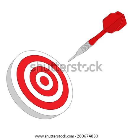 Red darts target aim - stock photo