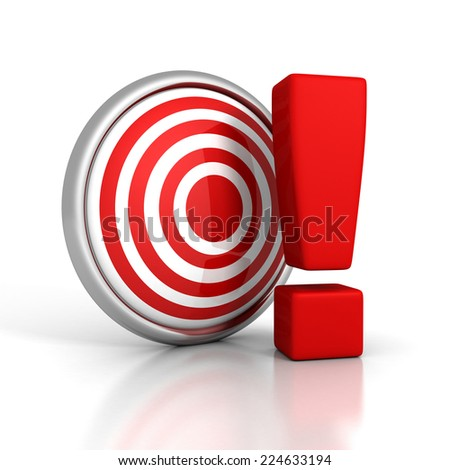 red darts target with big exclamation mark. 3d render illustration - stock photo