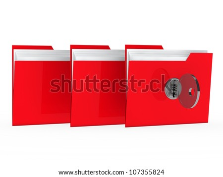 red data folder with paper key close - stock photo