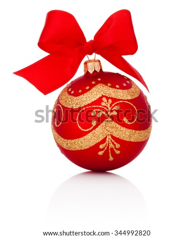Red decorations Christmas ball with ribbon bow Isolated on white background - stock photo
