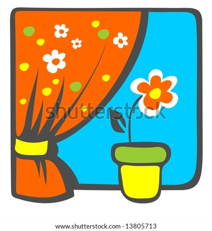 Red decorative flower on a windowsill with a bright curtain.