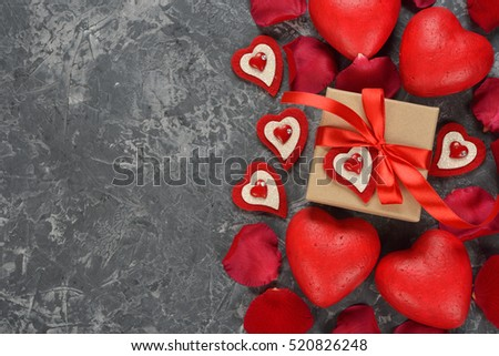 Red decorative heart on a gray background
