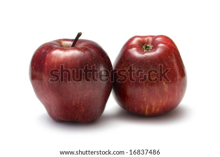 Red Delicious apples on white with clipping path