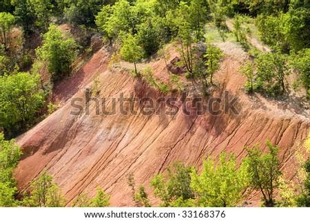 Red desert in Gant, Hungary - stock photo