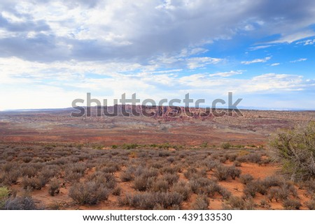 Red Desert panorama from Arches National Park, Utah, USA.