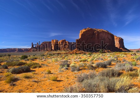 Red desert with mountain and sky on the background