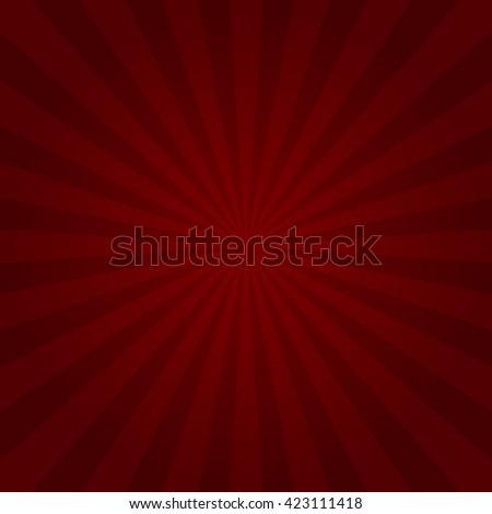 Red Design Sunburst Rays Background. Illustration - stock photo