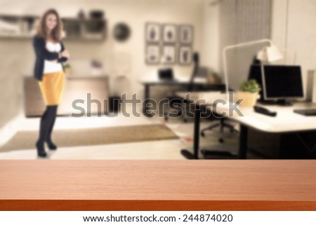 red desk in office  - stock photo