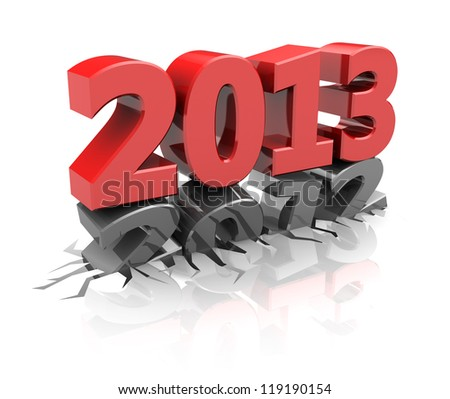 Red 2013  destroy number 2012, new year concept - stock photo