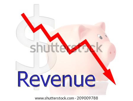 red diagram downwards revenue with piggy bank dollar symbol